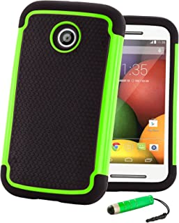 32nd Shockproof Series - Dual-Layer Shock and Kids Proof Case Cover for Motorola Moto E2 (2015), Heavy Duty Defender Style Case - Green