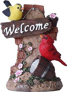 TERESA'S COLLECTIONS Cardinal Bird Garden Statues with Solar Light, Red Welcome Sign Resin Animal Garden Figurines Sculptu...