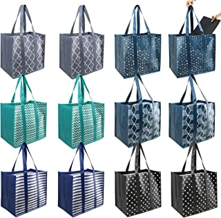 BeeGreen 12 Pieces Reusable Grocery Bags Extra Large Shopping Totes with Removable Bottom Durable Heavy Duty Easy to Clean...