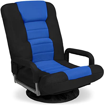 Best Choice Products Multipurpose 360-Degree Swivel Gaming Floor Chair for TV, Reading, Playing w/Lumbar Support, Armrest Handles, Foldable Adjustable Backrest - Blue