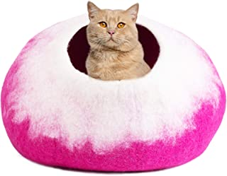 PETKIRI Handcrafted Felted Wool Cat Cave Bed for Cat and Kittens - Felted from 100% Natural Wool (Rose Petals)