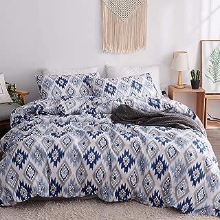 LAMEJOR Duvet Cover Sets Queen Size Boho Style Geometric/Ikat Pattern Bedding Set Comforter Cover (1 Duvet Cover+2 Pillowcases) Blue