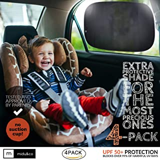 """Car Window Shade XL (4-Pack) - Extra Protective UPF 50+ Protection Sun Shade for Car Window - Car Window Shades for Baby and Kids - Blocks over 99% of Harmful UV Rays - Strong Static Cling - 21""""x14"""""""