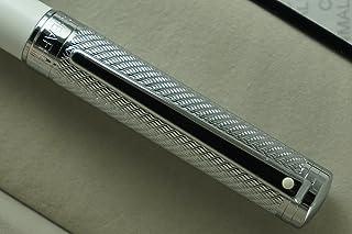 قلم نافورة ذو رأس متوسط الحجم مصنوع من الماس والبيرليسنت من ألياف الكربون الأبيض اللؤلؤي. تنسيق رائع، تأكيد، عيد ميلاد، عي...