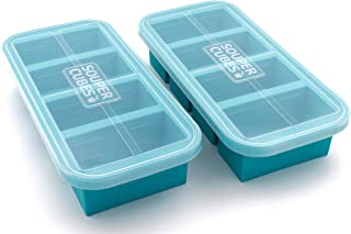 Souper Cubes Extra-Large Silicone Ice Cube Tray with Lid - 2 pack - makes 8 perfect 1cup portions - freeze soup broth or s...
