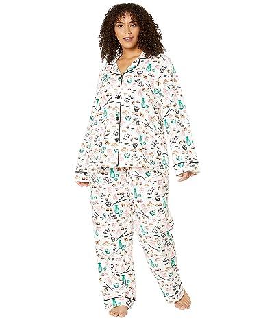 BedHead Pajamas Plus Size Long Sleeve Classic Notch Collar Pajama Set (Sushi) Women