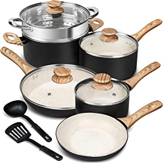 MICHELANGELO Pots and Pans Set 12 Piece, Ultra Non-Stick Stone Cookware Set with Spatula & Spoon, Granite Pots and Pans, N...