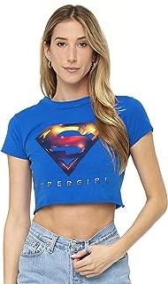 Supergirl TV Series 3D Logo Superman Juniors Teen Girls Crop Top T Shirt & Stickers