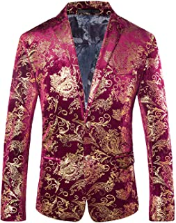 5e942c85e68d3 WULFUL Men s Luxury Casual Dress Floral Suit Notched Lapel Slim Fit Stylish Blazer  Jacket Party Coats