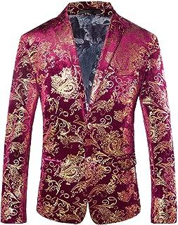 Men's Luxury Casual Dress Floral Suit Notched Lapel Slim Fit Stylish Blazer Jacket Party Coats