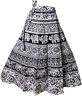 e659f8d1ff Kalpit Creations Women's Cotton Printed Wrap Around Skirt in Assorted  Design and prints in Black and