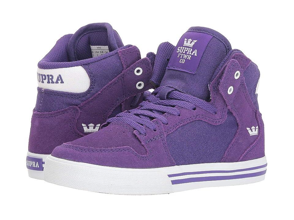 Supra Kids Vaider (Little Kid/Big Kid) (Purple/White/White) Boys Shoes