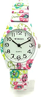 Ladies 27mm Novelty Floral Flower Elegant Stretch Elastic Band Fashion Watch Wincci
