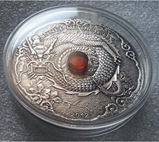 2012 TG Year of the Dragon Amber 2oz Silver Coin Togo 1500 CFA Francs Mint State