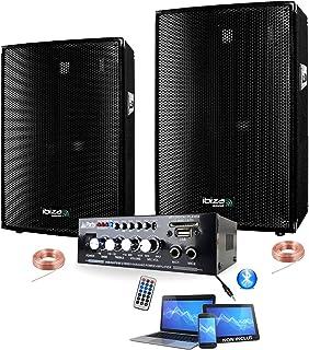 PACK SONO 600W TOTAL + AMPLI + 2 ENCEINTES 300W PA DJ SONO MIX LED LIGHT SOIRÉE FAMILIALE BAR CLUB MAISON DANSE