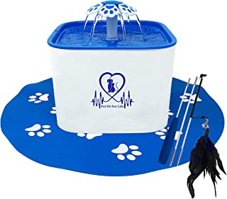 Pet Fit For Life Water Fountain Dispenser Plus Bonus Cat Wand and Mat - 2 Liter Super Quiet Automatic Water Bowl with Char...