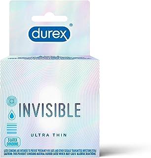 Condoms, Ultra Thin & Lubricated, Durex Condoms Invisible, 3 Count Durex's Thinnest Condom for Men (Pack of 6)