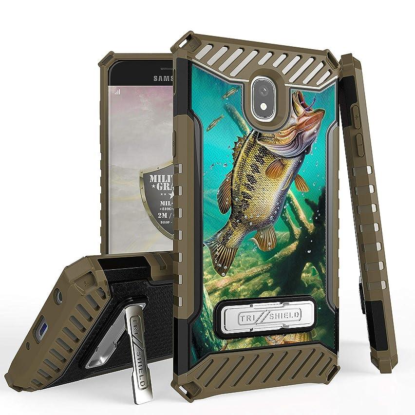 GB Military Grade Shockproof Hybrid Cover Dual Layered Case w/Kickstand for Samsung Galaxy J7 2018 / J7 Star / J7 Crown / J7 2nd Gen / J7 Refine / J7 Top - Trout Fishing