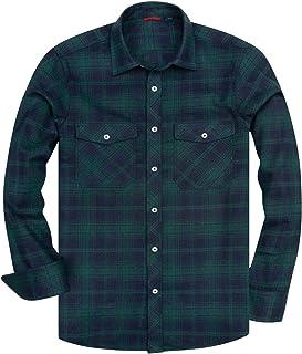 siliteelon Men's Long Sleeve Casual Plaid Flannel Shirt