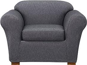 SureFit Stretch Denim One Piece Dark Indigo Chair Slipcover