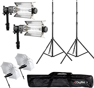 DIGITEK® Heavy-Duty Porta Kit with Pair of Light Stands | Porta Lights Pair of Umbrellas and Carry Bag for Studio Setup (P...
