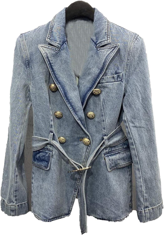 Autumn New Women Luxury Denim Jacket Coat Ladies Cowboy Coat with Belts Alice