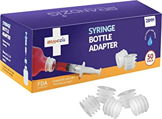 Medicine Bottle Syringe Adapter for Oral Dispensers (28mm, 50 Pack) | Press in Bottle Adapter for Liquid Medication | Only...