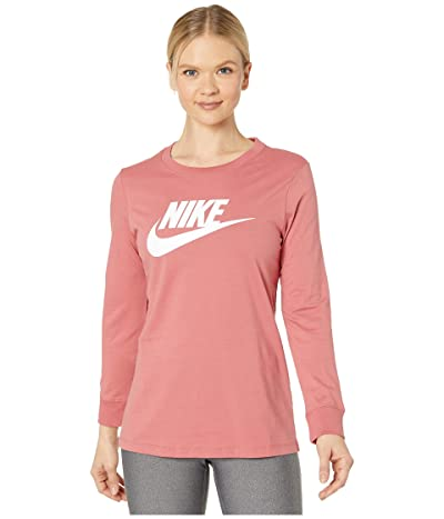 Nike NSW Tee Essential Long Sleeve Icon Futura (Light Redwood/White) Women