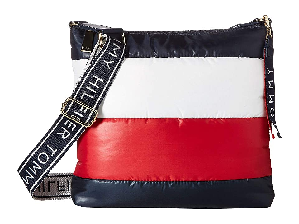Tommy Hilfiger Ames Puffy Large North/South Corp Color Block Crossbody (Navy/Red/White) Cross Body Handbags