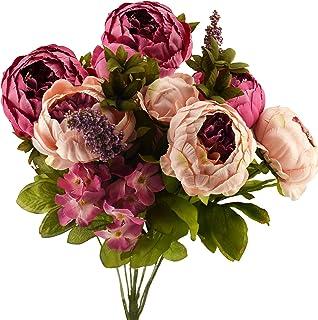 HUAESIN 2PCS Bouquet Fiori Artificiali Decorazioni Peonie Finte Piccole Bouquet Fiori Finti per DDecorazioni per Bomboniere Casa Balcone Soggiorno Negozione Bar