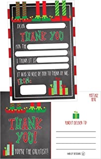 25 Christmas Holiday Kids Thank You Cards, Elf Fill In the Blank Thank You Notes, Personalized Card For Birthday Party or Christmas Gifts, Stationery For Children Boys and Girls