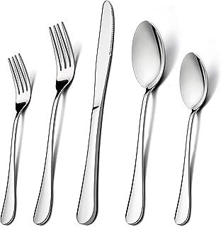 60-Piece Silverware Flatware Set for 12, LIANYU Stainless Steel Cutlery Eating Utensils Set, Kitchen Restaurant Party Tabl...