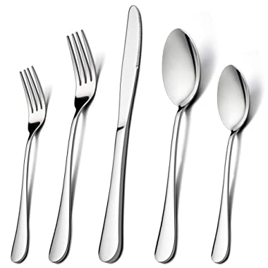 60-Piece Silverware Flatware Set for 12, LIANYU Stainless Steel Cutlery Eating Utensils Set, Kitchen Restaurant Party Tableware, Mirror Finished, Dishwasher Safe