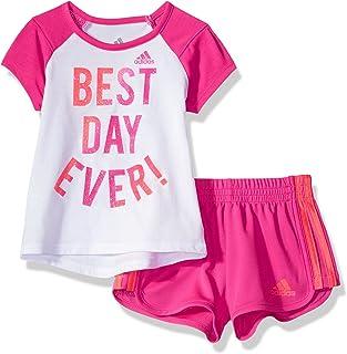 adidas Baby Girl's Short Sleeve Tee and Short Set Baby Costume, White, 6M
