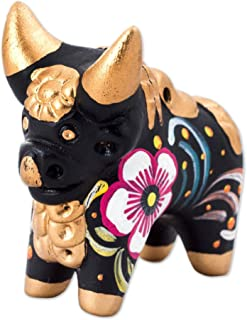 NOVICA Black and Gold Hand Painted Floral Ceramic Bull Figurine, Little Black Pucara Bull'