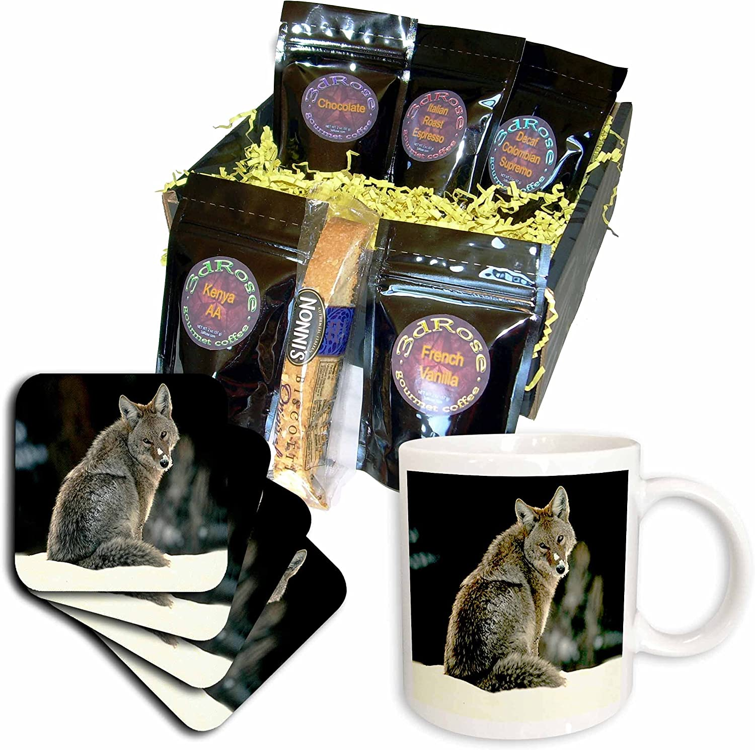 3dRose cgb_675_1 Coyote - Basket Coffee Gift 25% OFF Directly managed store Multicolor