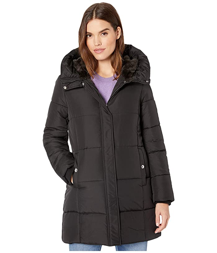 Sam Edelman  3/4 Polyfill with Faux Fur Liner (Black) Womens Coat