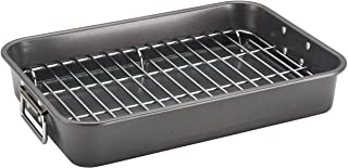 Farberware Bakeware Nonstick Steel Roaster with Flat Rack, 11-Inch x 15-Inch, Gray