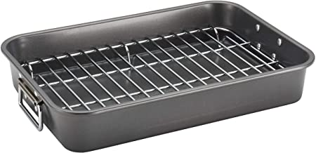 Farberware 57026 Nonstick Bakeware Roaster with Steel Rack, 11 by 15-Inch,Gray