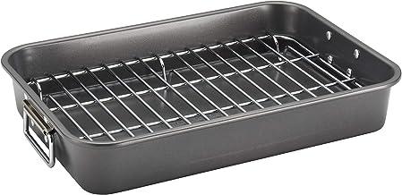 Farberware Nonstick Bakeware Roaster with Steel Rack, Gray, 11 by 15-Inch, 57026