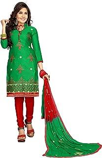 Minu salwar Cotton Printed Suit sets Green(Fancysatin_1008)