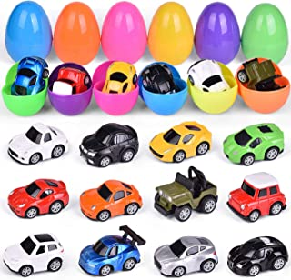 """12 PCs Filled Easter Eggs with Toy Cars, Easter Basket Stuffers, 3.94"""" Prefilled Easter Eggs with Toys Inside for Easter Party Favors, Easter Eggs Hunt"""