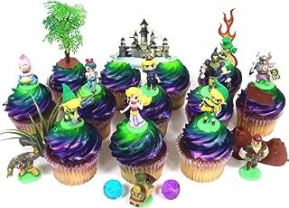 Legend of Zelda Birthday CUPCAKE Topper Set Featuring Link, Zelda, Phantom, Bryne, Anjean, Chancellor Cole, Big Blin, Alfonzo, Ferrus, Spirit Train, Themed Decorative Accessories, Figures Average 1