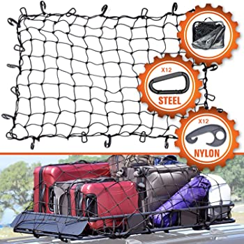 3ft x 4ft PowerTye Mfg EXTREME Duty 6mm Bungee Elastic Cargo Net Stretches to 54 x 72 Black Stretches to 54 x 72 18 Large Latch Hooks