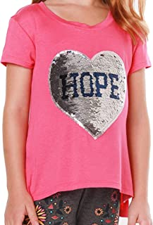 FASHION X FAITH Girls T Shirts Tops - Piper Round Neck 2-Way Flip Sequin Applique Tees Clothes, Made in USA