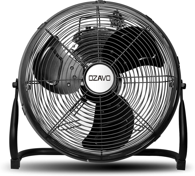 OZAVO Ventilador de Suelo Industrial con Circulador de Aire, Diámetro de Hoja de 30cm (12