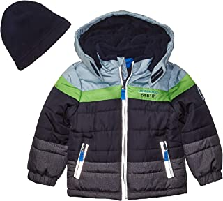 Boys' Color Blocked Puffer Jacket Coat with Hat