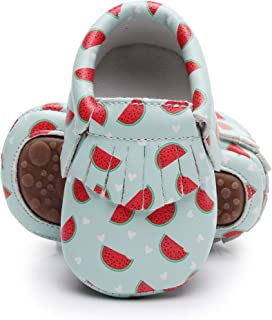 Bebila Cartoon Baby Moccasins - Vegan Baby Girls Boys Shoes with Rubber Sole for First Walker Toddler Mermaid Printing