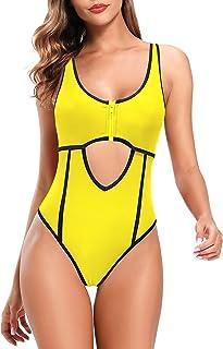 SHEKINI Traje de Una Pieza Mujer Bikini Ropa de Baño con Cremallera Corte Alto Monokini