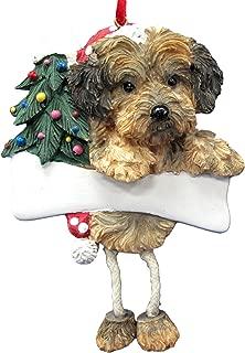 Yorkipoo Dog Dangling/Wobbly Leg Christmas Ornament